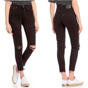 Levi's Black Wedgie Skinny Ankle Distressed Jeans